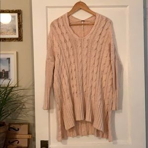 FP Oversize pink cable knit sweater